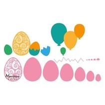 template perfuração: ovos de Páscoa e balões!