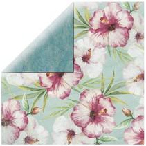 Scrapbookingpapier Roze Hibiscus