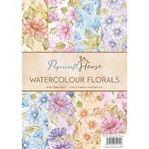 A4 Paquet papier aquarelle, fleurs 40 feuilles