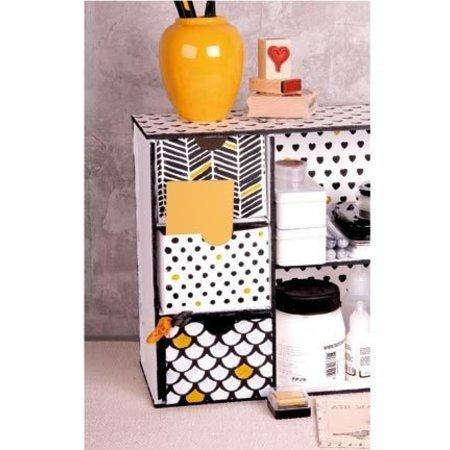 Holz, MDF, Pappe, Objekten zum Dekorieren Caja de almacenamiento con compartimentos y cajones plantilla