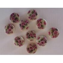 10 tre knapper med rose motiv