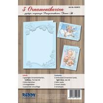 tarjetas conjunto de ornamento, A6, de color azul claro