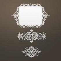 Stansning skabelon: Intricate dekorativ ramme og ornamenter