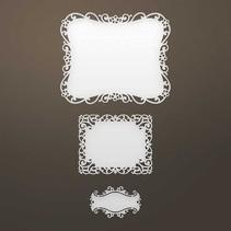 Stansning skabelon: Intricate dekorativ ramme og etiket