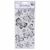 Schmuckstein Sticker, Schmetterlinge - Silber
