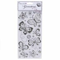 Gemstone Stickers, Butterflies - Silver