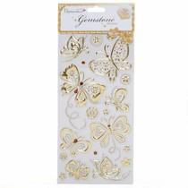 Schmuckstein Sticker, Schmetterlinge - gold