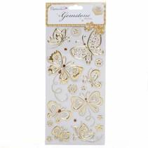 Gemstone Stickers, Butterflies - gold
