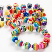 Lot de 20 perles colorées avec des rayures