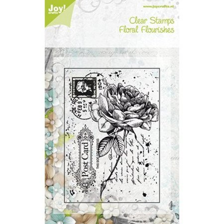Joy!Crafts und JM Creation Sellos transparentes, rosa viejo en una postal