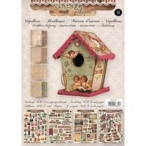 Bastelset 01: MDF und Papier für Vogelhaus Deko, 17cm.