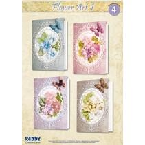 Material set for 4 cards Flower Art I