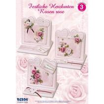 Material set for 4 Festive heart cards rose roses