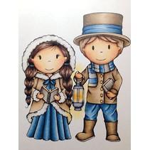 timbre en caoutchouc de 9,5 cm, les couples Nostalgie