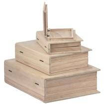 caja de madera en forma de libro en 4 tamaños diferentes