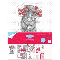 """Craft Kit for A4 Glitter Card from Me to You """"With Love"""""""