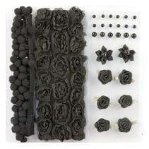 Poms y flores - Embellecimiento, pompones y flores fijaron negro