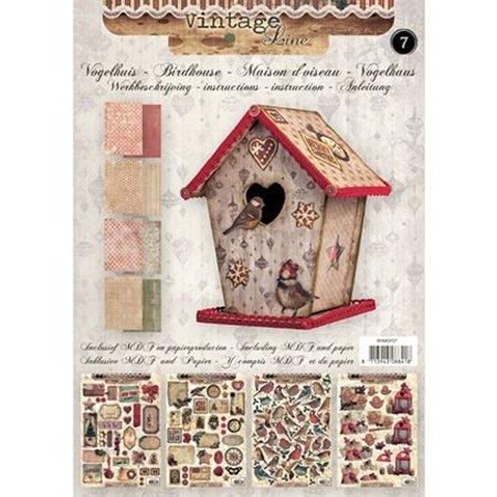 Objekten zum Dekorieren / objects for decorating Bastelset 07: MDF und Papier für ein Vintage Vogelhaus Deko, 17cm