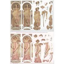 Feuilles pre-cut: « Art Nouveau » avec des images différentes - seulement 5 disponibles!