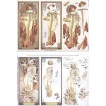 """Die fogli singoli: """"Art Nouveau"""", con immagini diverse - solo 5 disponibili!"""