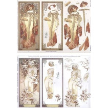 """Die folha solta: """"Art Nouveau"""" com imagens diferentes - apenas 5 disponíveis!"""