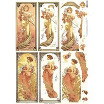 "NEW die cut ark: ""Art Nouveau"", ulike motiver"
