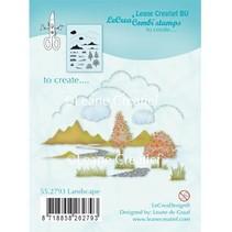 Transparent stamp: autumn, scene, castle