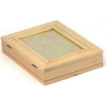 caixa de madeira plana, com molduras + 1 folha de moldura com efeito de ouro metálico!