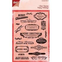 Alegría manualidades, sello transparente, texto Inglés para la Navidad