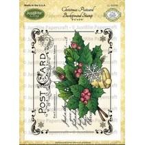 Justrite Postal de Navidad Cling Antecedentes sello