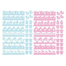 56 sponplater, baby ornamenter i rosa og blått