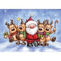 Timbre transparent: renne et le Père Noël