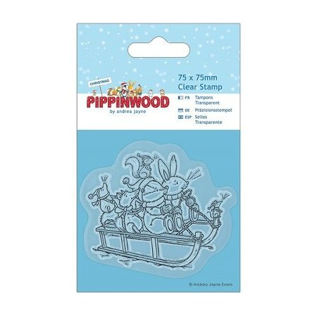 Docrafts / Papermania / Urban Transparent-Stempel, 75 x 75mm, Pippinwood Christmas - Sledge