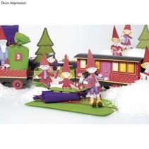 Kit de Noël train Artisanat, 1 locomotive, une voiture 6, déco et la famille de gnome