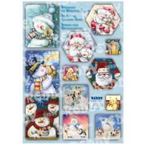 Bastelpackung cartes cascade, bonhommes de neige, Pères Noël