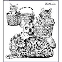 Stempel kat og hund, omkring 9 x 10 cm
