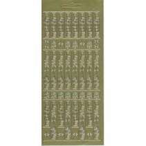 Klistremerke ark, 10x23cm tysk tekst: Merry Christmas, vertikalt til gull