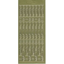 Sticker sheet, 10x23cm German text: Merry Christmas, vertical in gold