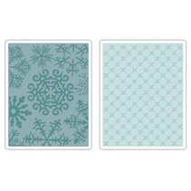 2 Embossing Folder 11,43x14,61 cm, snowflake and stars