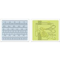 2 Embossing Folder 11,43x14,61 cm, de costura y de medición conjunto de cintas