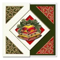 Un ensemble de 5 cartes et enveloppes de Noël en vert, rouge ou crème