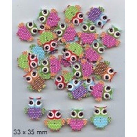 Embellishments / Verzierungen 10 decorative buttons 33 x 35mm, Design: Owl