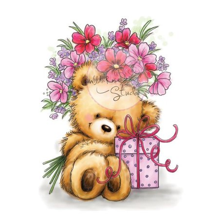Wild Rose Studio`s A7 Stamp Set Teddy avec un cadeau