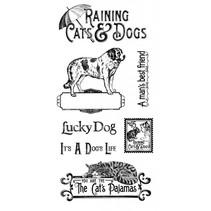 Sello de goma, lloviendo gatos y perros