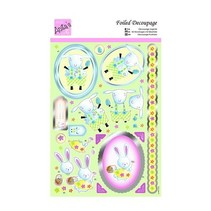 Die cut sheets with silver frame, Easter motives