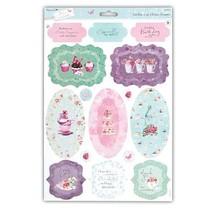 A4 glitter Die cut sheets with pretty motifs