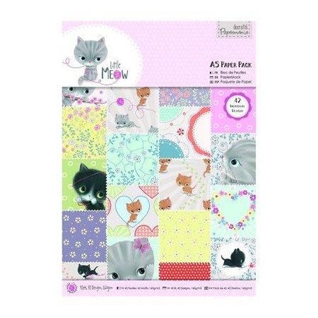 DESIGNER BLÖCKE  / DESIGNER PAPER A5 bloc de papier avec 42 côté, Little Meow