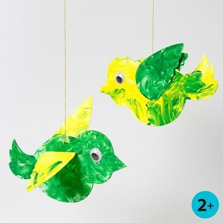 Bastelset: 50 Pájaro, L: 25 cm, blanco + 50 Wackelaugen