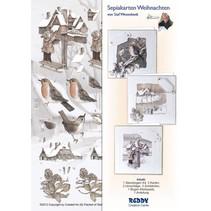 Quadr Sepia Tarjetas de Navidad Craft Kit Staf Wesenbeek. Buzón, Robin