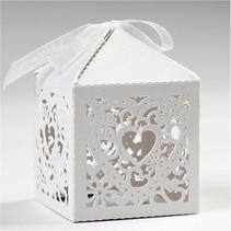 12 Dekorative Box, 5,3x5,3 cm, hvid, med hjerte